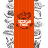 Vintage vector hand drawn mexican food sketch Illustration. Royalty Free Stock Image
