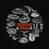 Vintage vector hand drawn mexican food sketch Illustration. Stock Photo