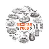 Vintage vector hand drawn mexican food sketch Illustration. Stock Photos