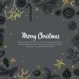 Vintage vector handdrawn Christmas card Royalty Free Stock Photo