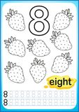 Printable worksheet for kindergarten and preschool. Exercises for writing numbers. Simple level of difficulty. Restore dashed line. And color the picture Stock Photos