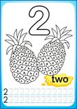 Printable worksheet for kindergarten and preschool. Exercises for writing numbers. Simple level of difficulty. Restore dashed line. And color the picture Stock Photo