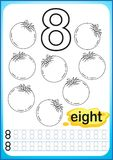 Printable worksheet for kindergarten and preschool. Exercises for writing numbers. Simple level of difficulty. Restore dashed line. And color the picture Stock Image