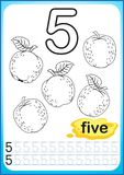 Printable worksheet for kindergarten and preschool. Exercises for writing numbers. Simple level of difficulty. Restore dashed line. And color the picture Royalty Free Stock Photos
