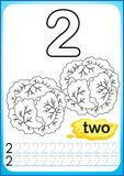 Printable worksheet for kindergarten and preschool. Exercises for writing numbers. Simple level of difficulty. Restore dashed line. And color the picture royalty free illustration