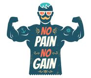 No pain no gain. Vintage vector illustration of a bodybuilder with lettering. No pain no gain Stock Photos