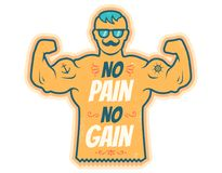 No pain no gain. Vintage vector illustration of a bodybuilder with lettering. No pain no gain Royalty Free Stock Images