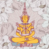 Vintage vector illustration with Buddha Royalty Free Stock Photography