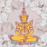 Vintage vector illustration with Buddha. In meditation Royalty Free Illustration