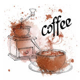 Vintage vector illustration. Coffee grinder. A cup of coffee with a spoon on Abstract Background with Watercolor Stock Photo