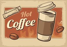 Vintage Vector illustration of hot coffee cup. Retro poster template. Vector old paper texture drink background concept Stock Image