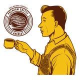 Vintage vector illustration of man drink coffee Stock Image