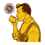 Vintage vector illustration of man drink coffee Royalty Free Stock Photos