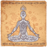 Vintage vector illustration with a meditation pose Stock Photo