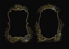 Vintage frames of peonies in botanical style Royalty Free Illustration