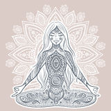 Vintage vector illustration with yoga girl. Mediation pose. Stock Photos