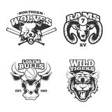 Vintage vector labels with wolf, bulls, ram and tiger Royalty Free Stock Photos