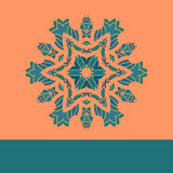 Vintage vector mandala pattern retro green on orange. Hand drawn abstract flayer cover. Decorative retro pattern Royalty Free Stock Photography