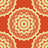 Vintage vector mandala pattern retro yellow on red. Hand drawn abstract tile. Decorative retro pattern. Wallpaper  Royalty Free Stock Photo