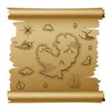 Vintage vector map scrolled brown parchment vector illustration