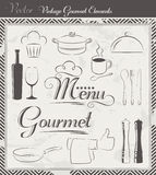 Vintage Vector Menu and Gourmet Elements Stock Photos