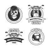 Vintage vector motorcycle or motorbike club emblems Stock Photos