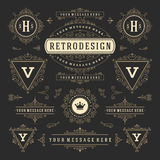 Vintage Vector Ornaments Decorations Design Elements. Flourishes calligraphic combinations Retro Logos Stock Image