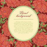 Vintage vector oval frame with burgundy peonies. The flower buds, branches and leaves on a dark red background and place Royalty Free Stock Images