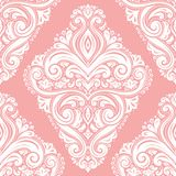 White damask seamless pattern on a pink background. Vintage vector, paisley elements. Traditional,Turkish, Indian motifs. Great for fabric and textile, wallpaper stock illustration