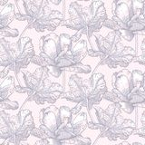 Vintage vector pattern with field of tulip flowers. On soft pink background. Seamless texture for print, wallpaper, spring summer fashion, soap package and Stock Photo