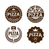 Vintage vector pizza logo, label, badge set Stock Images
