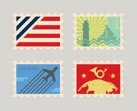 Vintage vector post stamps Royalty Free Stock Photos
