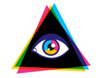 Free Vintage Vector Poster With Pyramid And Eye Stock Photography - 172400562