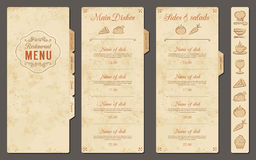 Vintage Vector Restaurant Menu Template Royalty Free Stock Photo