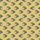 Vintage vector seamless pattern with cartoon birds Stock Photography