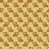 Vintage vector seamless pattern with cartoon cats Royalty Free Stock Images