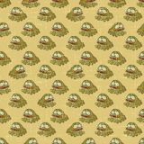 Vintage vector seamless pattern with cartoon frogs Stock Photos