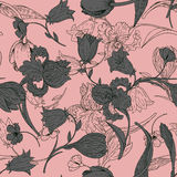 Vintage vector seamless pattern with flowers Royalty Free Stock Photo