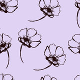 Vintage vector seamless pattern with hand-drawn flowers on the soft purple background Royalty Free Stock Images