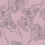 Vintage vector seamless pattern with iris flowers Stock Photo