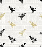 Vintage vector seamless pattern. linocut style with birds and geometrical ornament. Royalty Free Stock Image