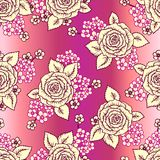 Vintage vector seamless pattern with  roses Stock Image