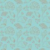 Vintage vector seamless pattern of seashells. Vintage Turquoise vector seamless pattern of sea Stock Photo