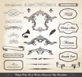Vintage Vector Set of Borders Frames and Page Decorations royalty free illustration