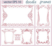 Vintage vector Set of Doodle Frames.  items. Royalty Free Stock Photos