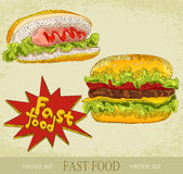 Vintage vector set of fast food Royalty Free Stock Image
