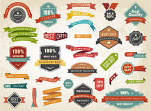 Vintage Vector Set of  Label Banner Tag Sticker Badge Royalty Free Stock Images