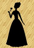Vintage vector silhouette of a woman with rose in hand on beige diagonal striped background Stock Photo