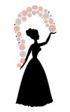 Vintage vector silhouette of a woman throwing flowers, beautiful decorative motif Stock Image