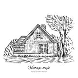 Vintage vector sketch old european wooden house isolated on white, Historical building sketchy line art. Rural landscape with old farmhouse and garden Royalty Free Stock Photography